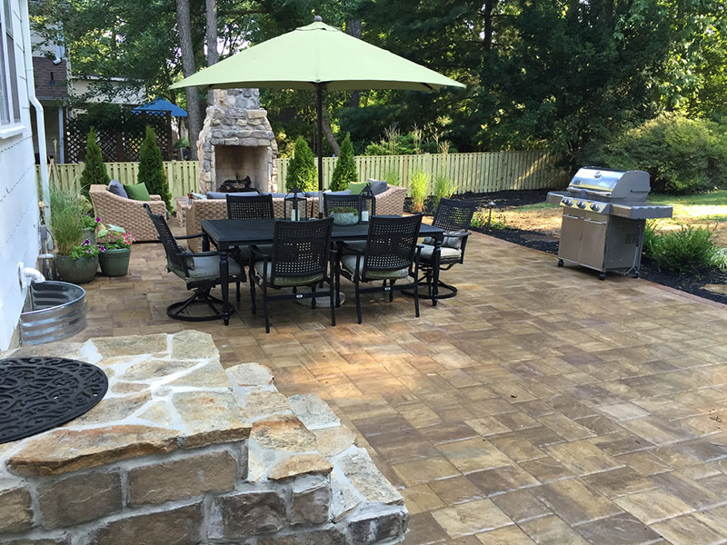 Paver Patio and Fireplace
