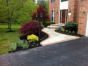 entrance planting and mulching