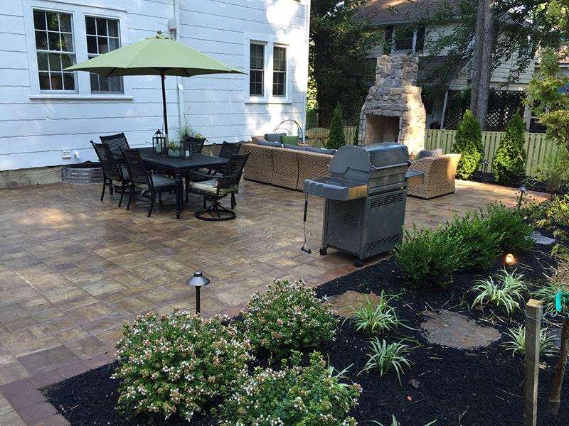 Glenwood Home Backyard Patio and Fireplace